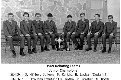 This popped into my inbox recently. The Senior and Junior debating teams from my high school. The junior team were undefeated champions that year. That's me on the photo right end.